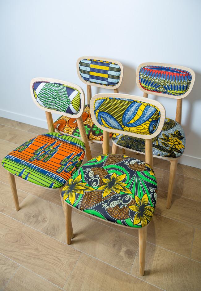 Chaises de la collection Wax Going On par Sandrine Alouf.