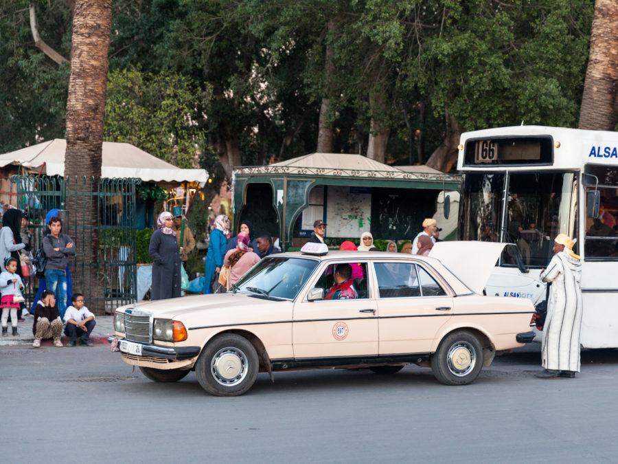 A taxi near Jemaa el-Fna square